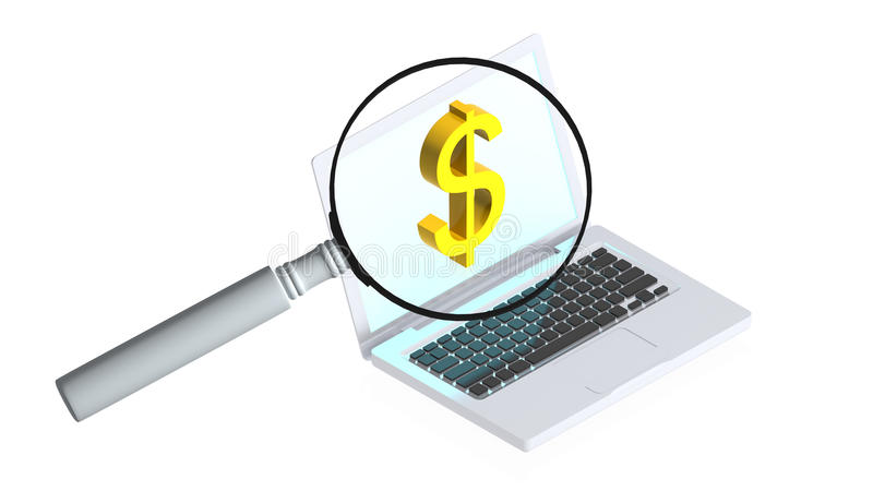 Download Computer with magnifier stock photo. Image of communication - 25947760