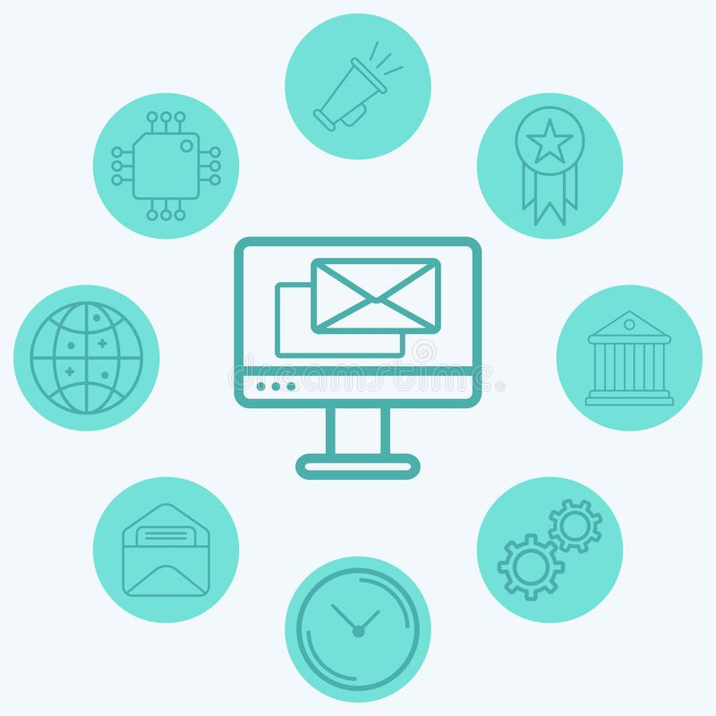 Computer with mail vector icon sign symbol. Computer with mail vector icon sign symbo icon vector, filled flat sign, solid pictogram isolated on white. Symbol vector illustration
