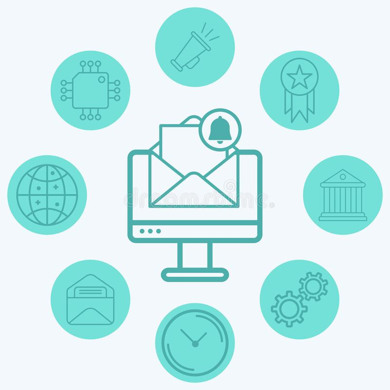 Computer with mail vector icon sign symbol. Computer with mail vector icon sign symbo icon vector, filled flat sign, solid pictogram isolated on white. Symbol stock illustration