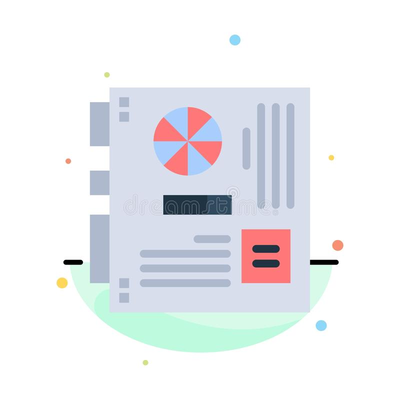 Computer, Main, Mainboard, Mother, Motherboard Abstract Flat Color Icon Template vector illustration