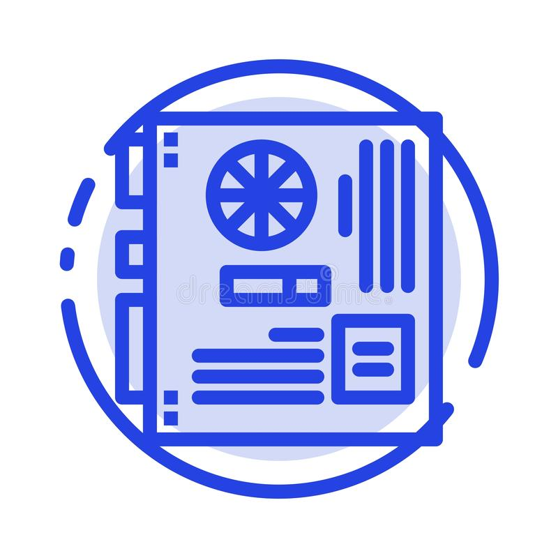 Computer, Main, Mainboard, Mother, Motherboard Blue Dotted Line Line Icon stock illustration