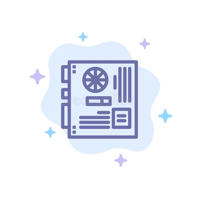 Computer, Main, Mainboard, Mother, Motherboard Blue Icon on Abstract Cloud Background vector illustration