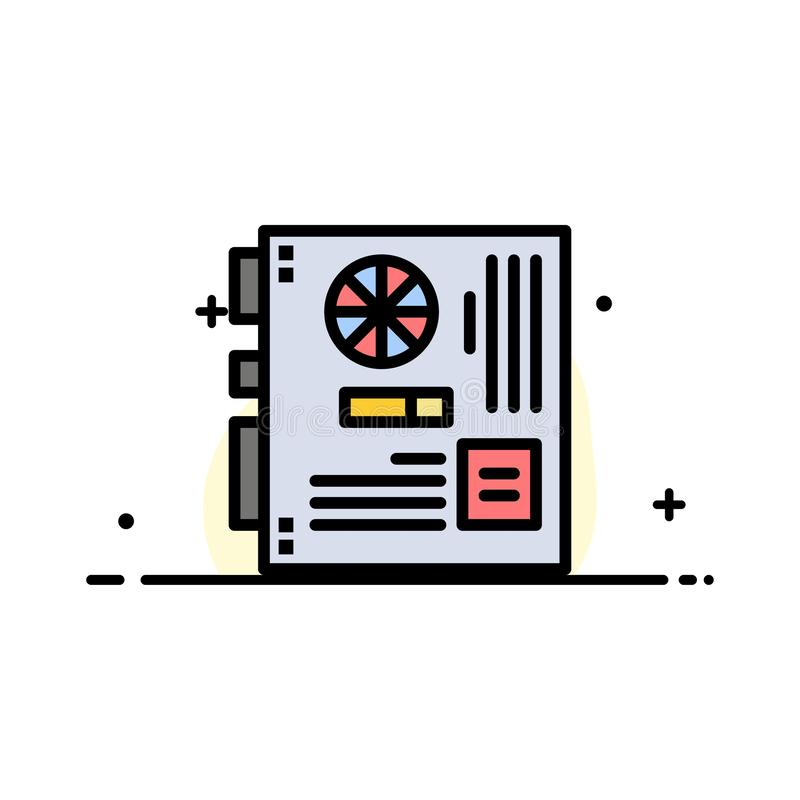 Computer, Main, Mainboard, Mother, Motherboard  Business Flat Line Filled Icon Vector Banner Template vector illustration