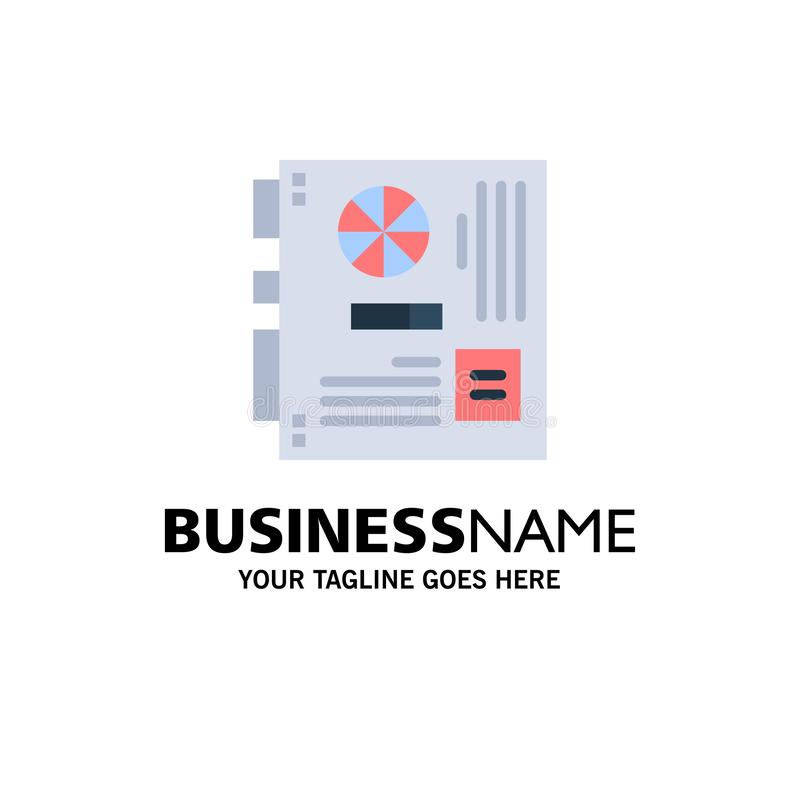 Computer, Main, Mainboard, Mother, Motherboard Business Logo Template. Flat Color vector illustration