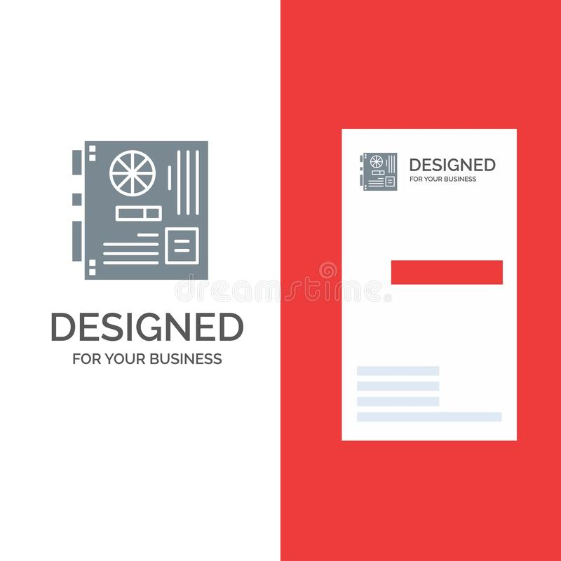 Computer, Main, Mainboard, Mother, Motherboard Grey Logo Design and Business Card Template vector illustration