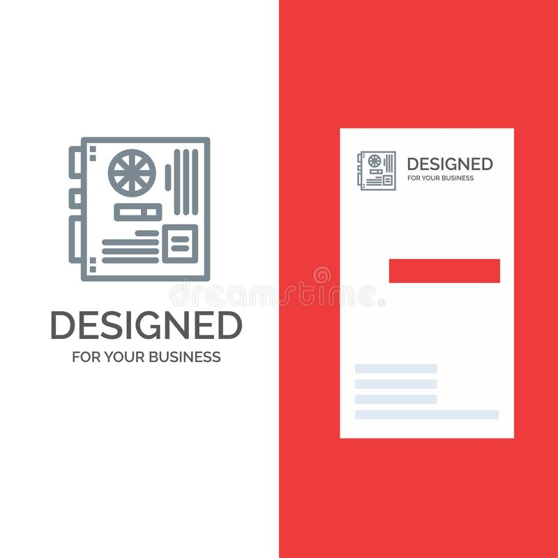 Computer, Main, Mainboard, Mother, Motherboard Grey Logo Design and Business Card Template stock illustration