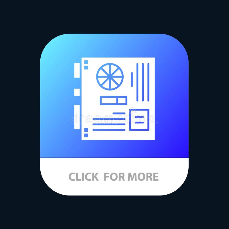Computer, Main, Mainboard, Mother, Motherboard Mobile App Button. Android and IOS Glyph Version royalty free illustration
