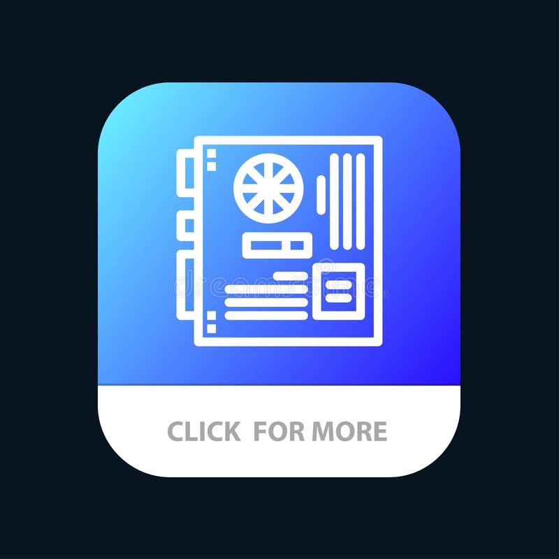 Computer, Main, Mainboard, Mother, Motherboard Mobile App Button. Android and IOS Line Version royalty free illustration