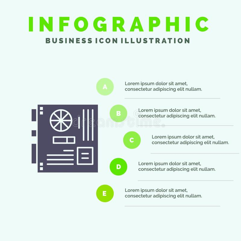 Computer, Main, Mainboard, Mother, Motherboard Solid Icon Infographics 5 Steps Presentation Background vector illustration