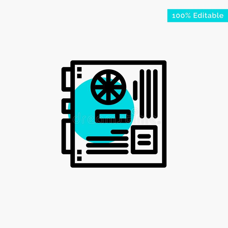 Computer, Main, Mainboard, Mother, Motherboard turquoise highlight circle point Vector icon royalty free illustration