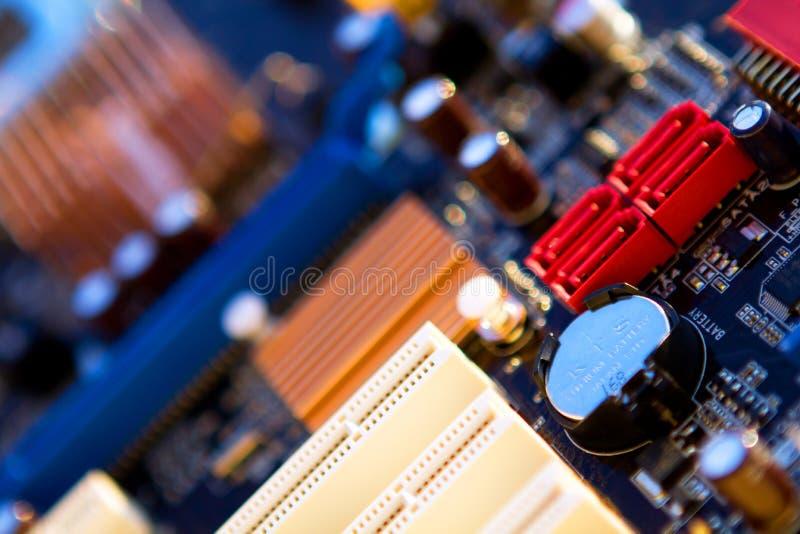 Computer Mainboard. A closeup view of a computer mainboard. Computing concept. Horizontal royalty free stock photography