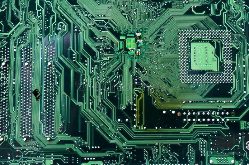 Computer mainboard. Green mainboard computer or motherboard royalty free stock photos