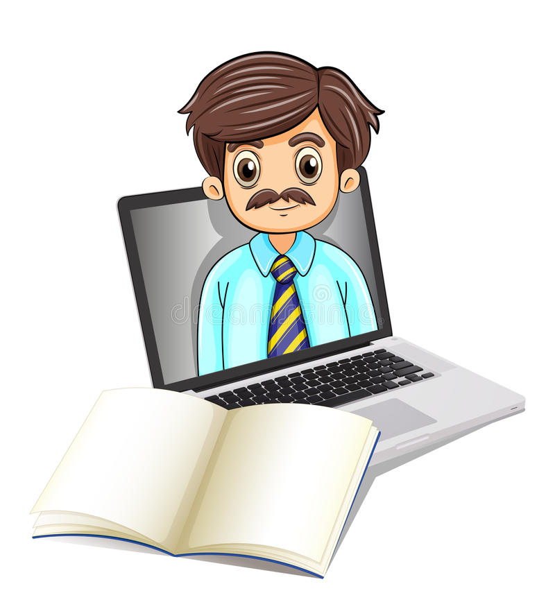 A computer with a man and an empty notebook. Illustration of a computer with a man and an empty notebook on a white background vector illustration