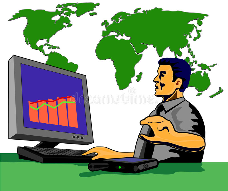 Computer with man and map stock illustration