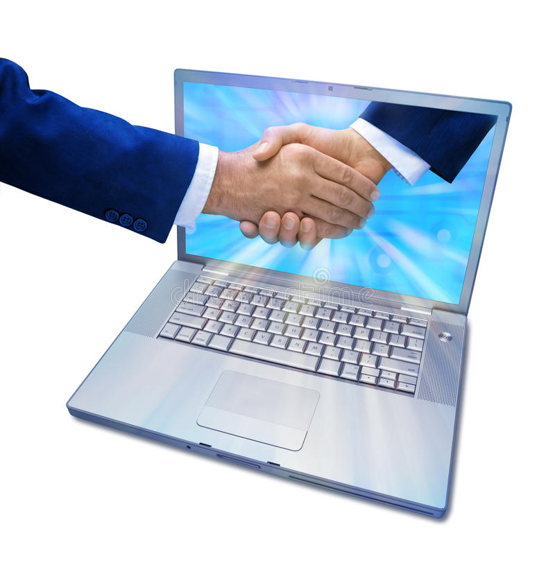 Computer Marketing Business Handshake. A hand coming out of a computer screen to shake hands with someone else isolated on white