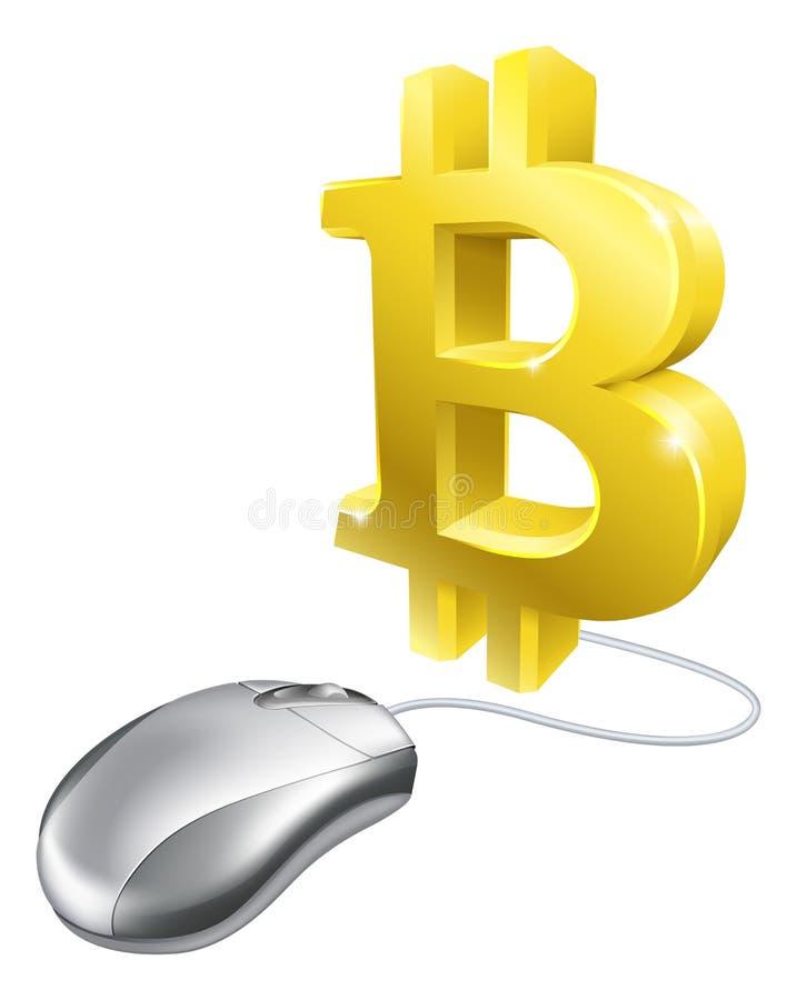 Computer-Maus-Bitcoin-Konzept stock abbildung