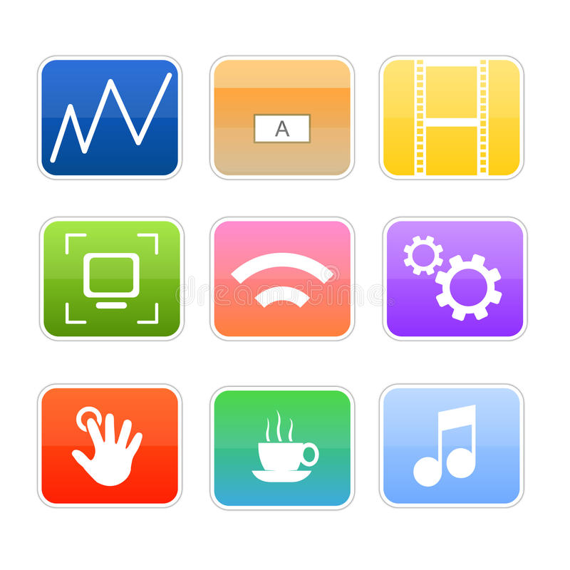Computer media glossy icons. Glossy shiny web or desktop icons for different uses and tools, as disk data, folders, movies, music, widget, network, touch screen stock illustration