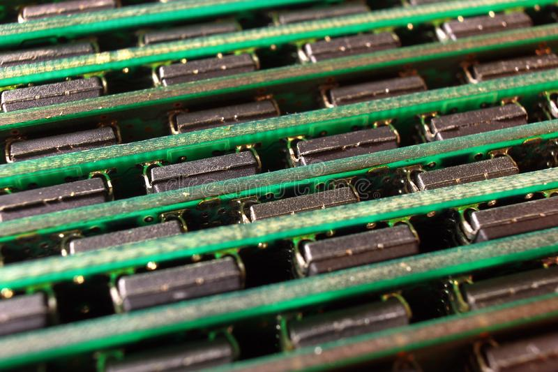 Computer memory modules. Chips on SIMM and DIMM boards.  stock photography