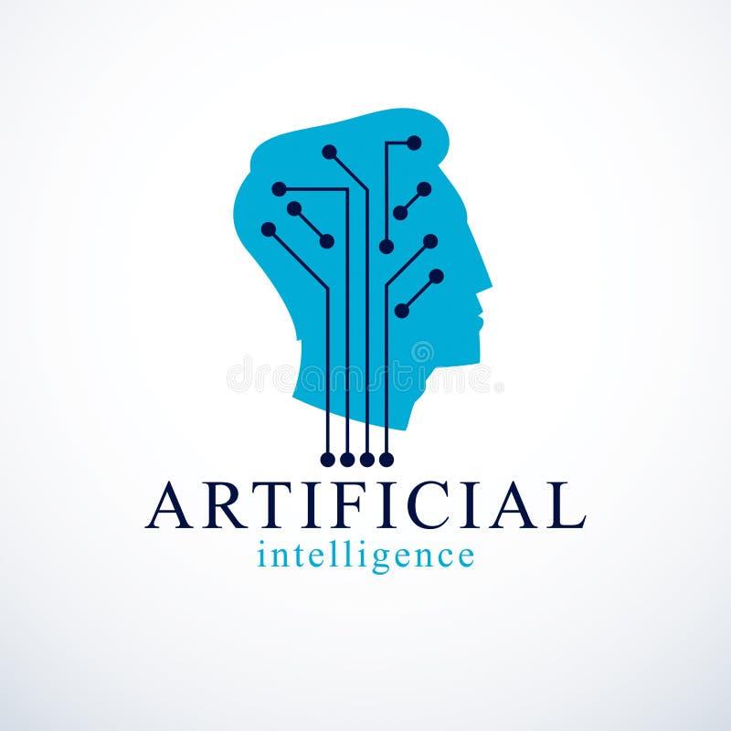 Computer menselijke androïde bot, kunstmatige intelligentieconcept gezoem vector illustratie