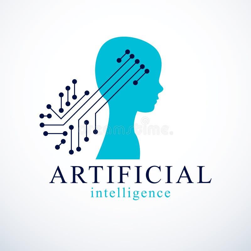 Computer menselijke androïde bot, kunstmatige intelligentieconcept gezoem stock illustratie