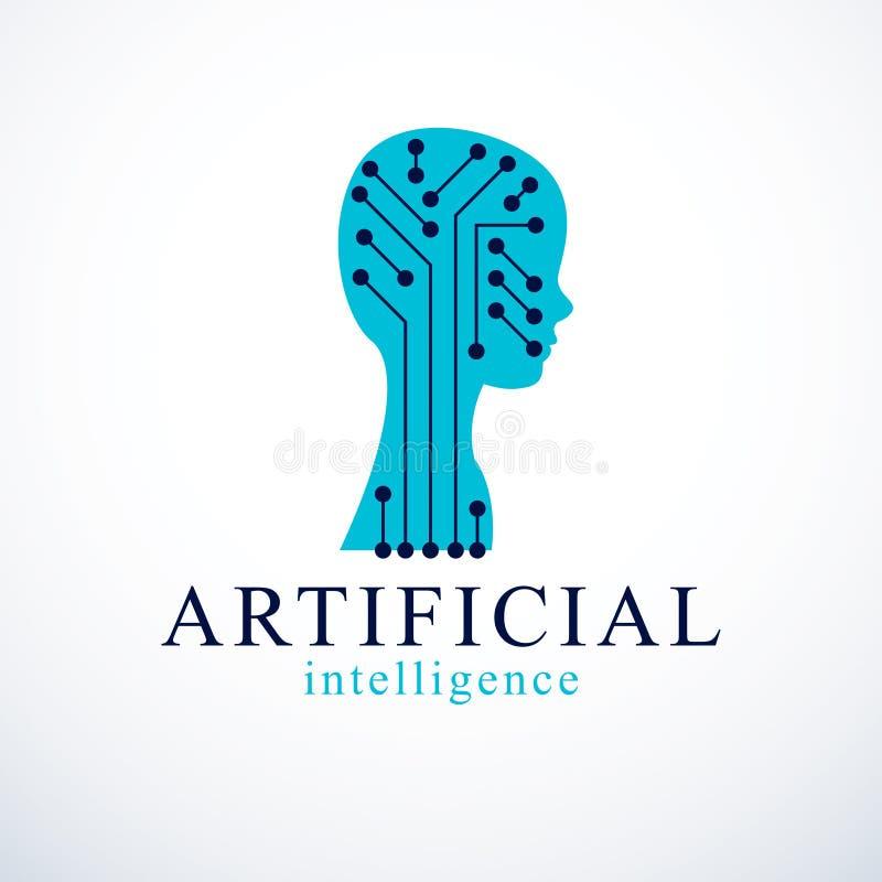 Computer menselijke androïde bot, kunstmatige intelligentieconcept gezoem royalty-vrije illustratie
