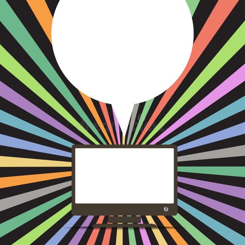 Computer met de van de toespraakwolk en kleur stralen royalty-vrije illustratie