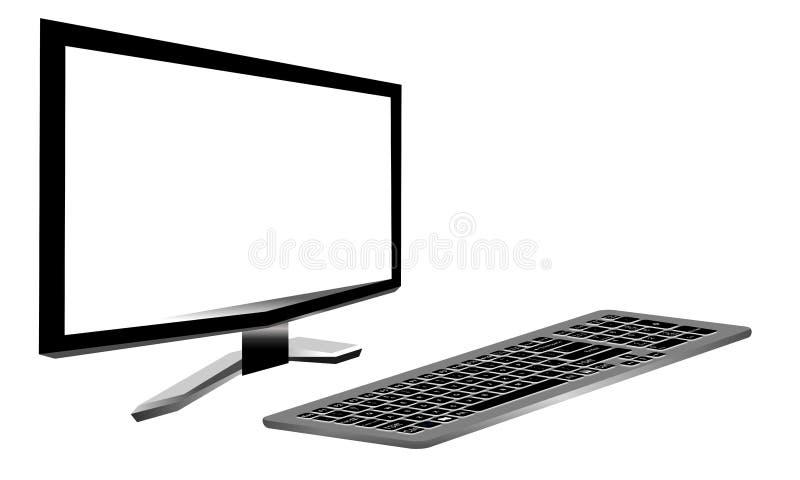 Computer met ge?soleerde het schermtribunes op de lijst Technologiemededeling stock illustratie