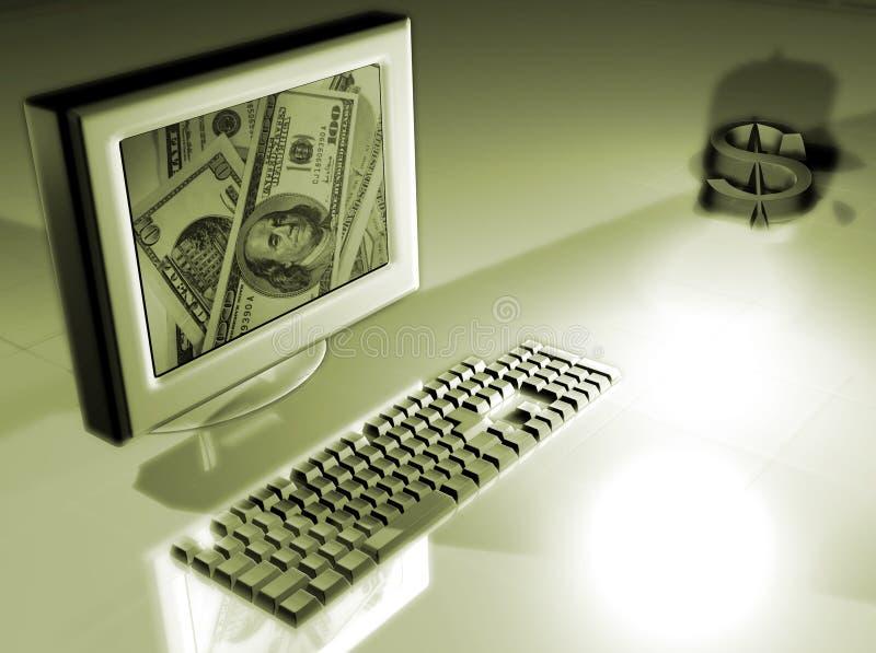 Computer met geldconcept vector illustratie