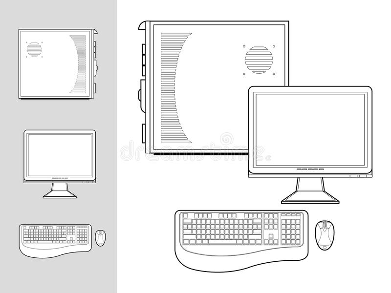 Computer met geval, toetsenbord, muis en monitor vector illustratie