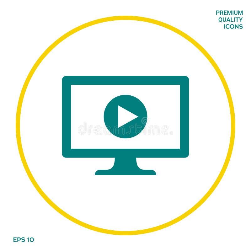 Computer met het pictogram van de spelknoop Grafische elementen voor uw ontwerp stock illustratie