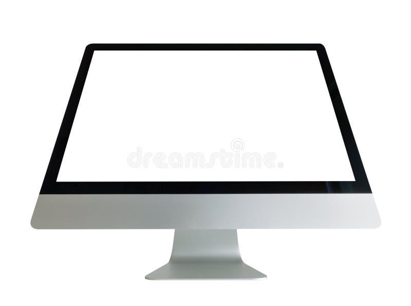 Computer met het witte scherm royalty-vrije stock foto's