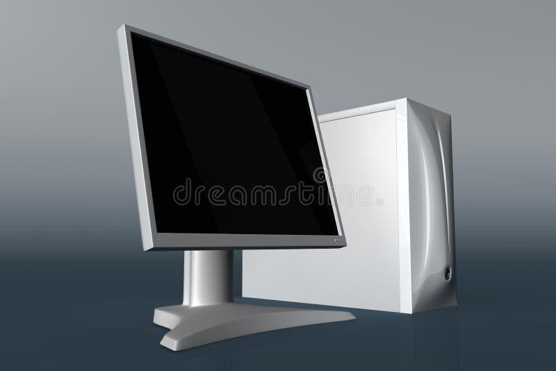 Computer met LCD monitor 01 royalty-vrije illustratie