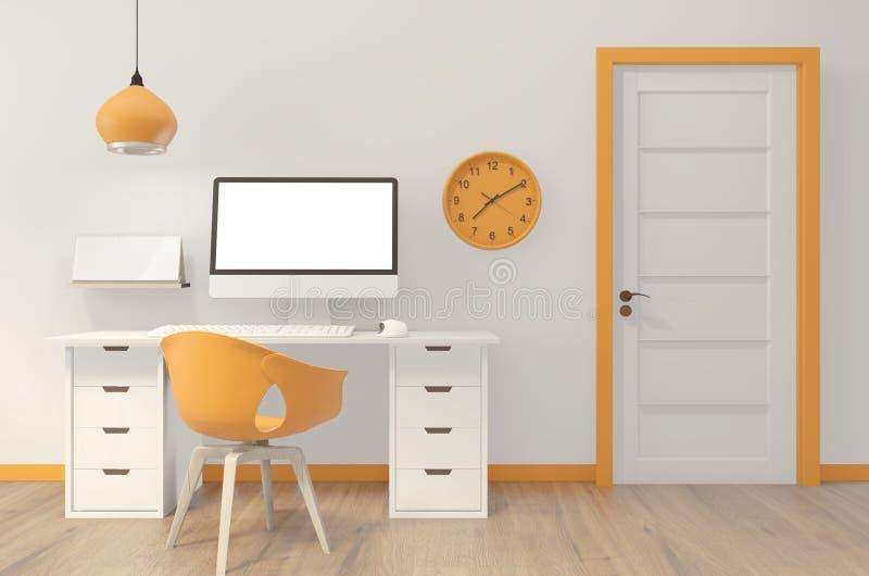 computer met leeg scherm en versiering in oranje kantoorruimte op achtergrond 3D-rendering vector illustratie
