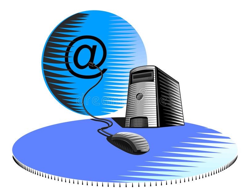 Computer met muis en bol royalty-vrije illustratie