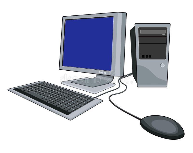 Computer met muiswit stock illustratie