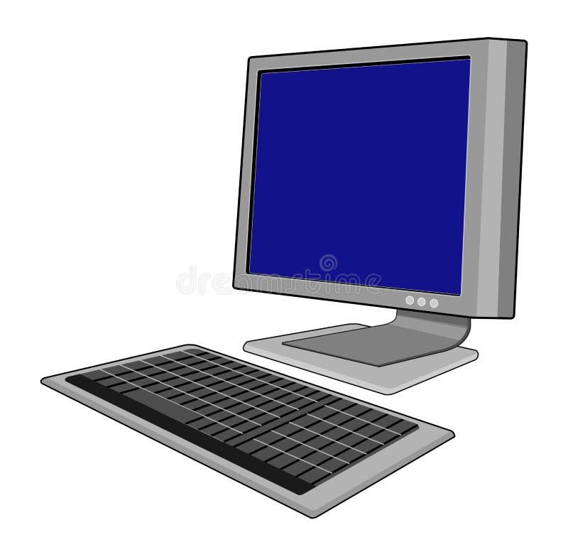 Computer met toetsenbord royalty-vrije illustratie