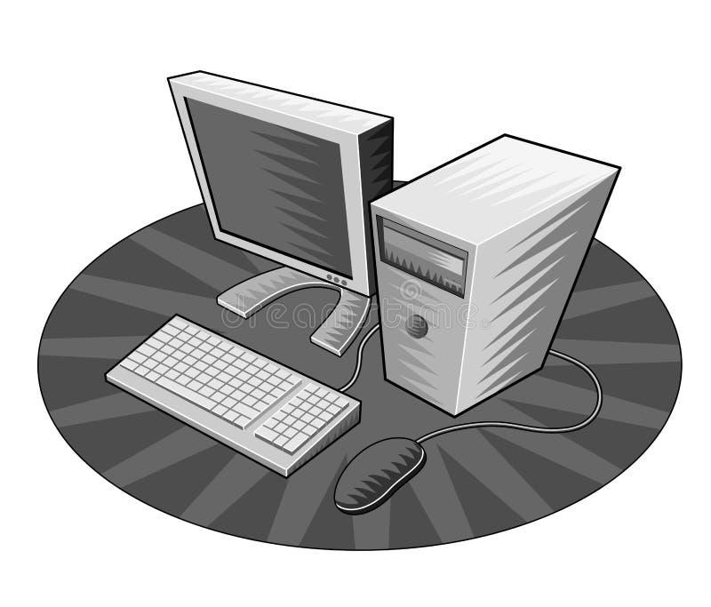 Computer met toetsenbord & muis stock illustratie