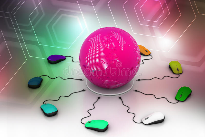 Download Computer Mice Are Connected Around Globe Stock Illustration - Image: 43638357