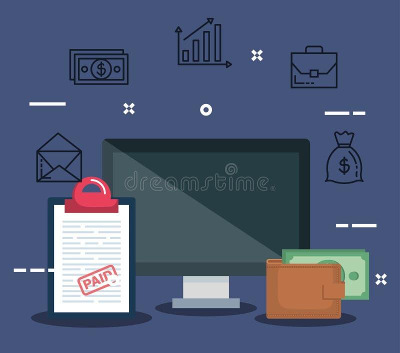 Computer mit Berichtssteuer und Geldbörse mit Rechnung stock abbildung