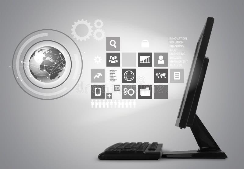 Computer mit digitalen Ikonen 3d, einfarbige Ansicht vektor abbildung