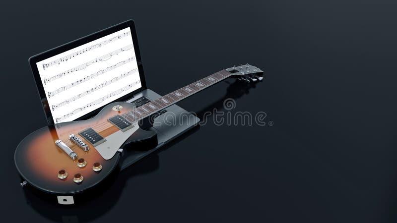 Computer mit E-Gitarre vektor abbildung