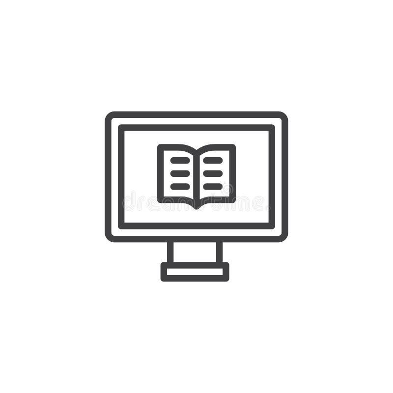 Computer mit einer Buchentwurfsikone stock abbildung