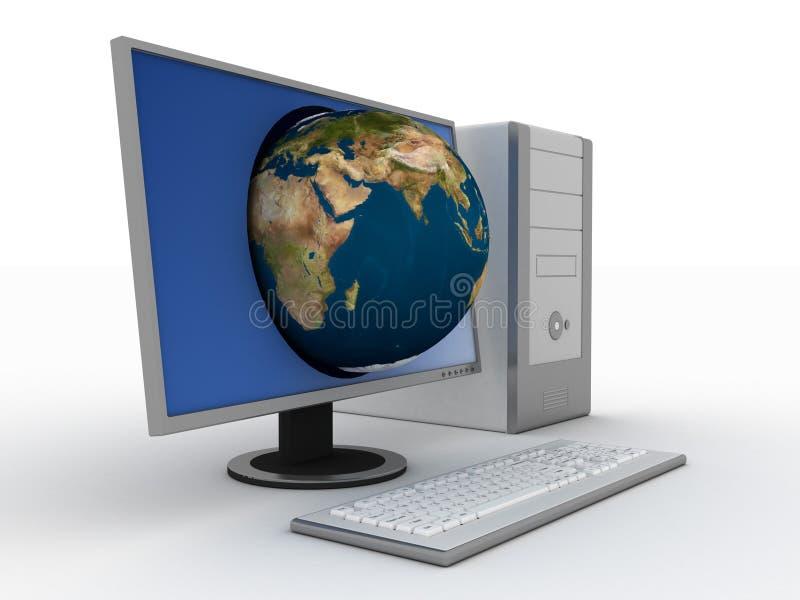 Computer mit Erde in der Bildschirmanzeige lizenzfreie abbildung