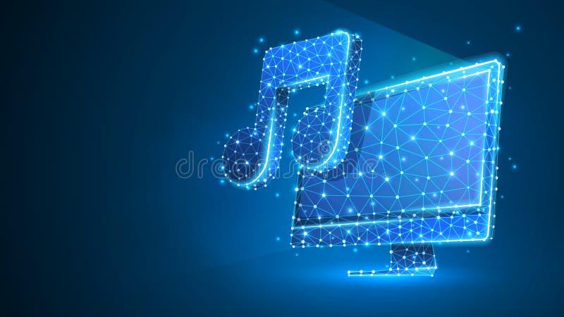 Computer mit Musikanmerkung über Bildschirm Polygonale Schallabstrahlung, Computermelodienkonzept r lizenzfreie abbildung