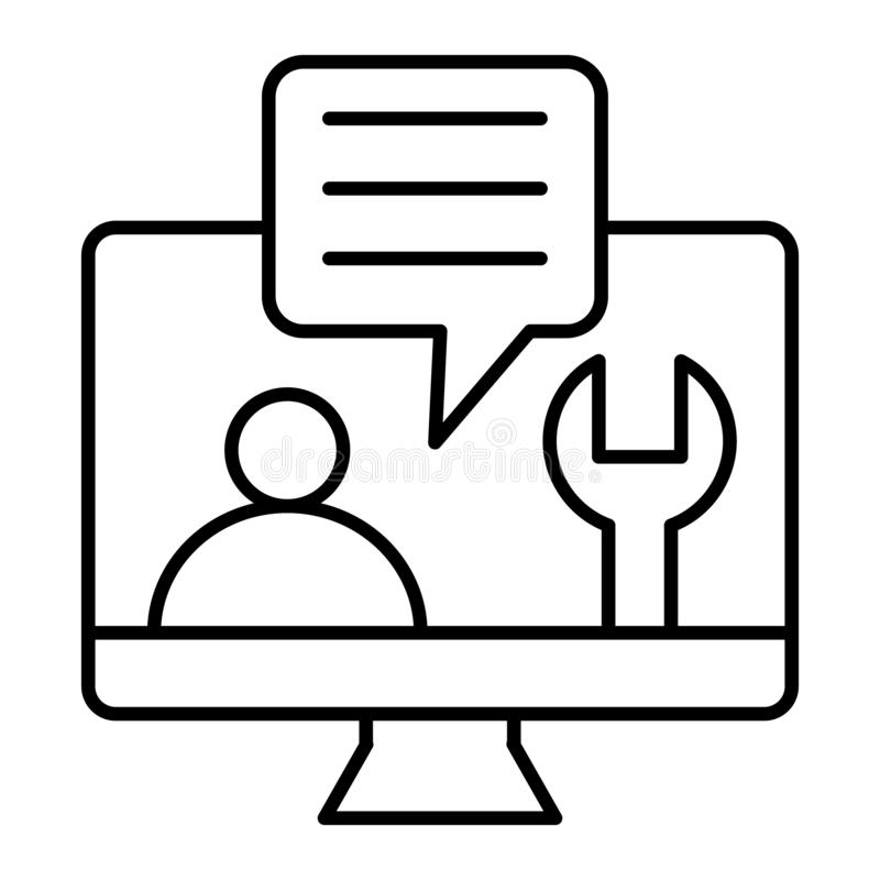 Computer mit Symbolreparaturservice an der dünnen Linie Ikone des Schirmes Technische Unterstützung auf der Monitorvektorillustra lizenzfreie abbildung