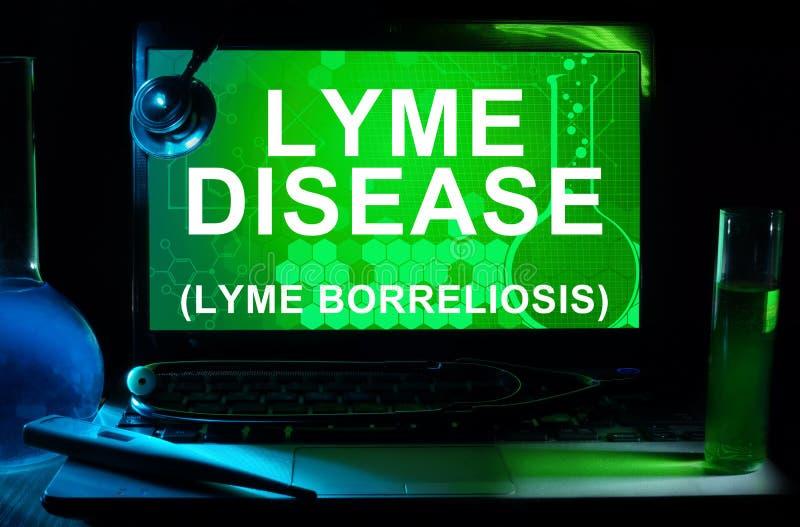 Computer mit Wörter Lyme-Borreliose stockbild