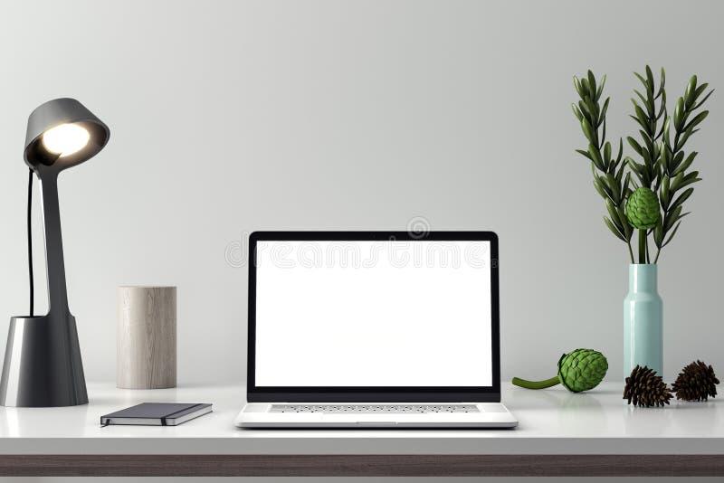 Computer-Modell, PC-Schirm auf Tabelle im Büro, Wiedergabe 3d des Arbeitsplatzes stockbild
