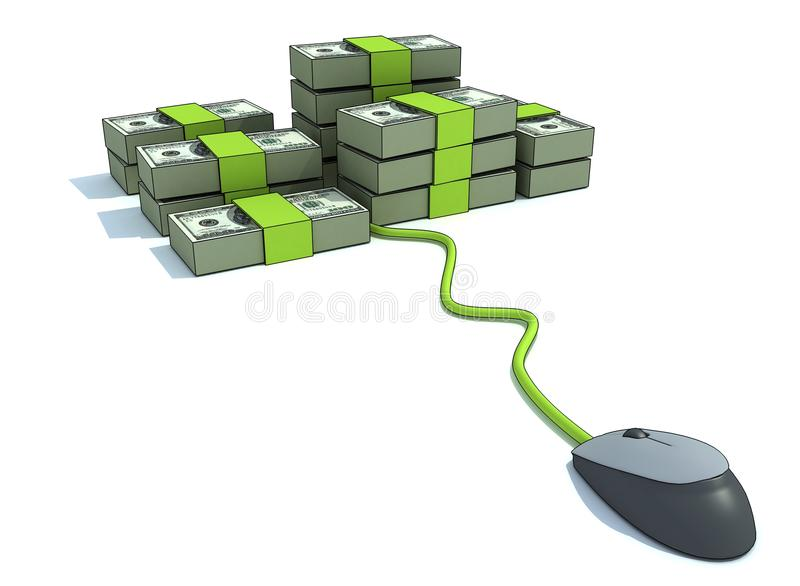 Computer money. Computer mouse money with of $100 bills stock illustration