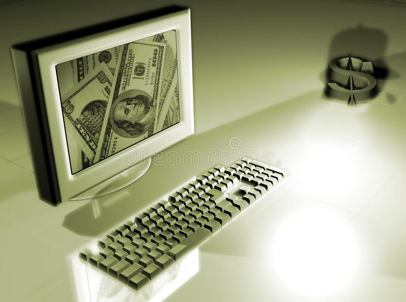 Computer with money concept royalty free stock photo