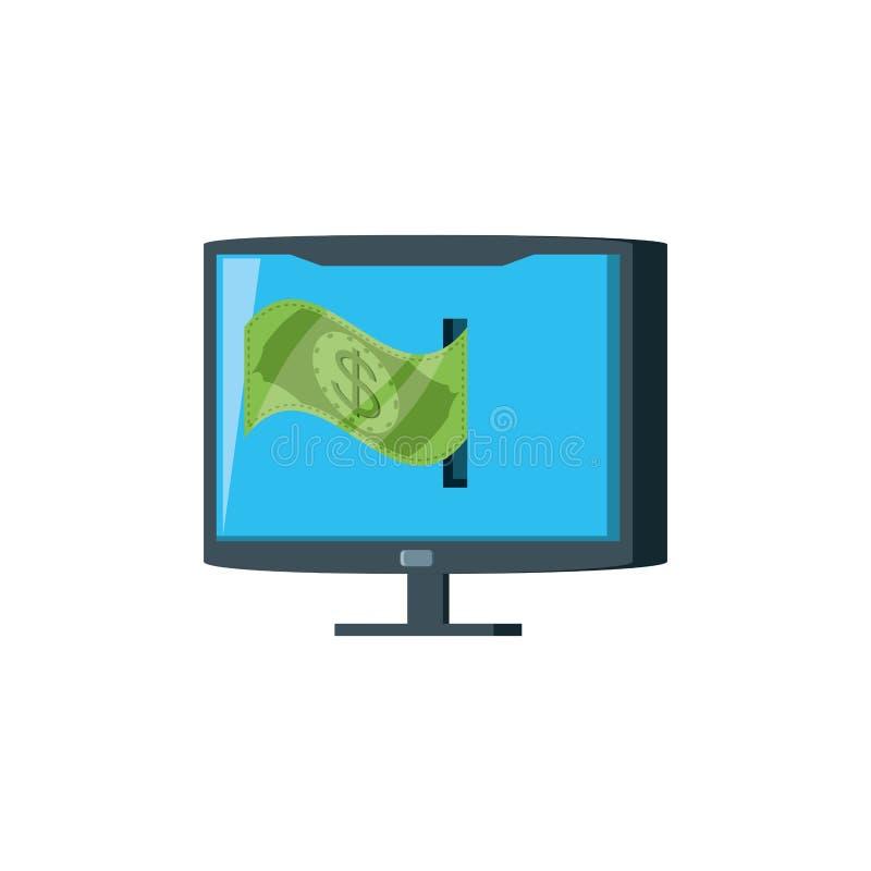 Computer monitor with bill dollar. Vector illustration design stock illustration